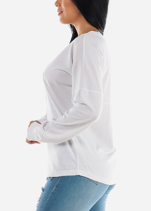 "Long Sleeve White Graphic Top ""Lashes Lips"""