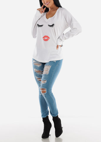 "Image of Long Sleeve White Graphic Top ""Lashes Lips"""