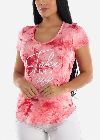 "Red Tie Dye Graphic Top ""Take It Easy"""