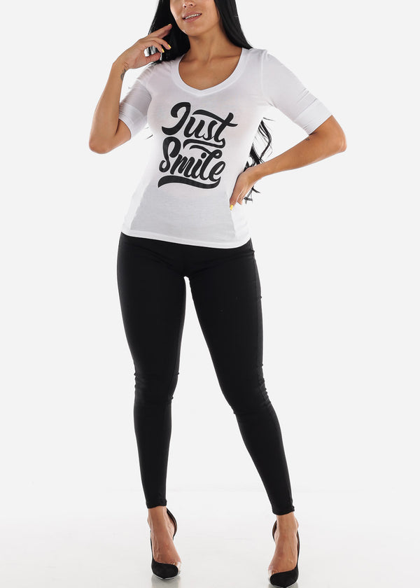 "White Graphic T-Shirt ""Just Smile"""