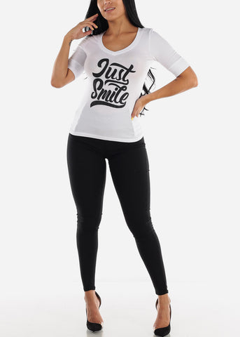"Image of White Graphic T-Shirt ""Just Smile"""