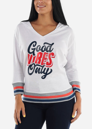 "White Graphic Pullover Sweatshirt ""Good Vibes Only"""
