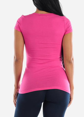 V-Neck Basic T-Shirt (Fuchsia)