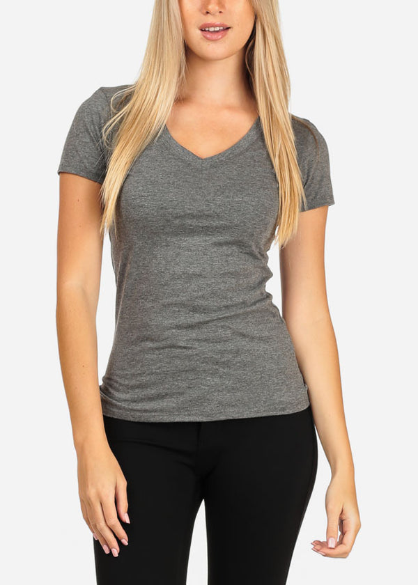 Women's Junior Essential Basic Must Have Stretchy V Neckline Grey Top