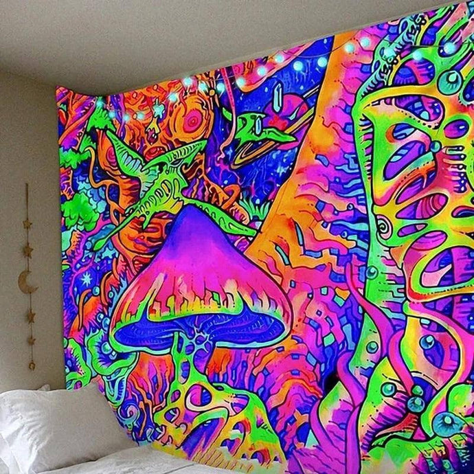 Cosmic Threads Tapestry Abstract Psilocybin Mushroom Tapestry