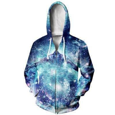 Cosmic Threads Hoodies All From Nothing We Became Something By Cameron Gray - Zipper Hoodie