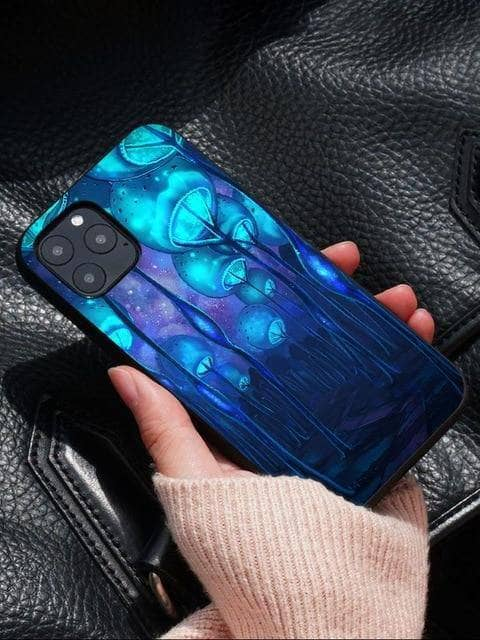 Cosmic Threads Blue Forest Trippy Mushroom Psychedelic Art Phone Case for iPhones