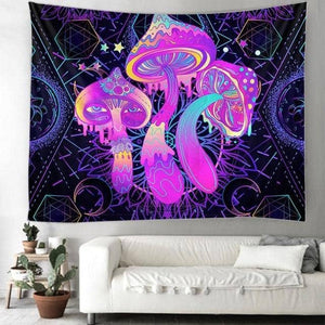 Cosmic Threads Tapestry Dancing Mushroom Psilocybin Tapestry