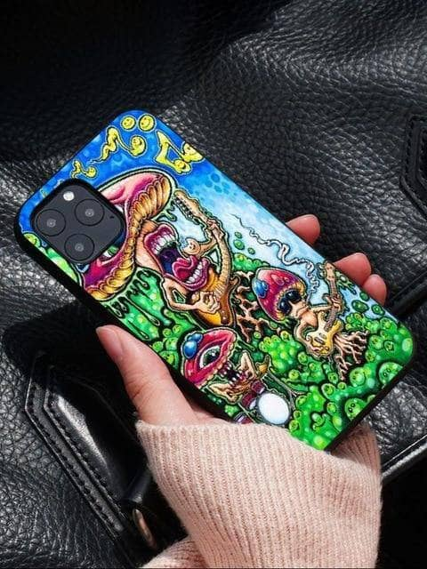 Cosmic Threads Jungle Mushroom Psychedelic Art Phone Case for iPhones