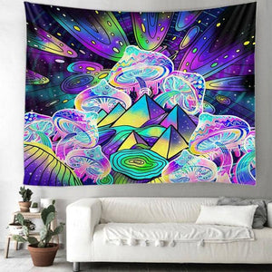 Cosmic Threads Tapestry Psilocybin Crystals Mushroom Tapestry