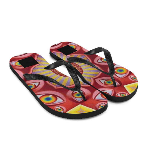Cosmic Threads Psychedelic Eyes Flip-Flops