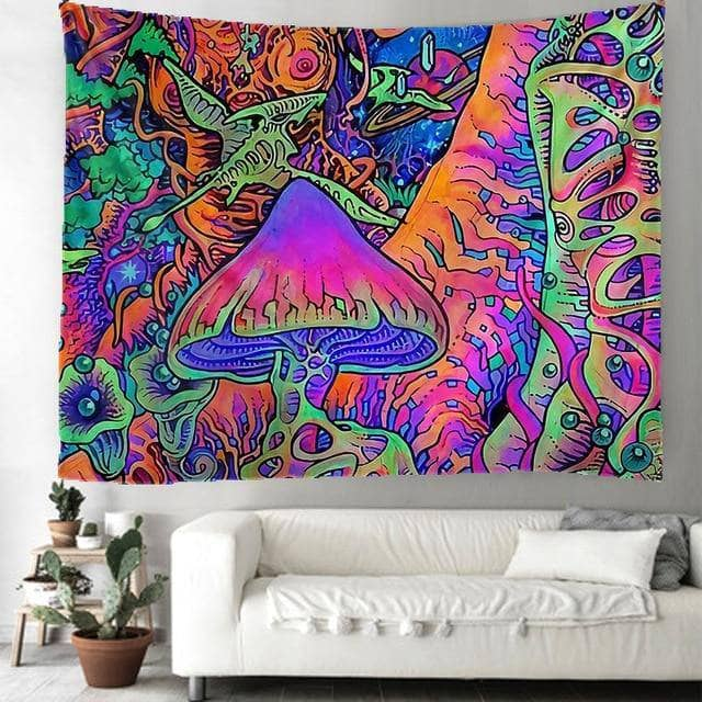 Cosmic Threads Tapestry Purple Haze Psilocybin Mushroom Tapestry