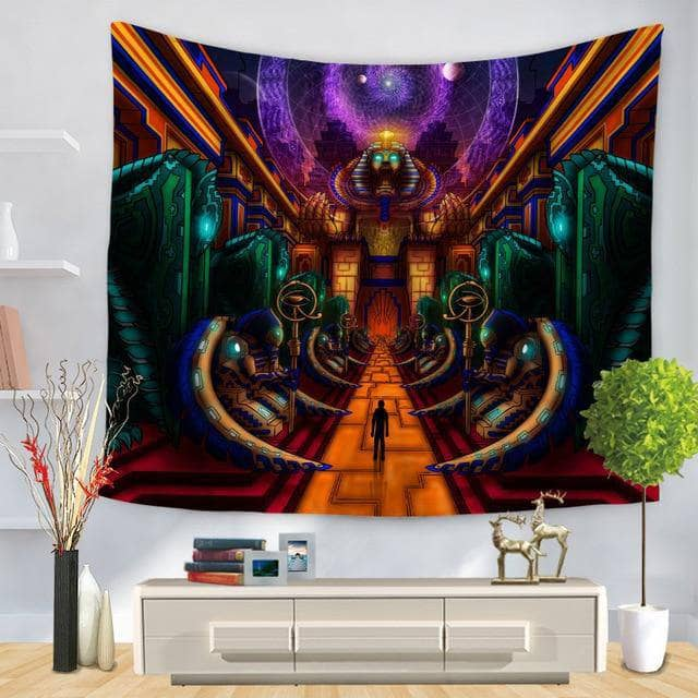 Cosmic Threads Tapestry Salvia Pyramid Psychedelic Tapestry By SalviaDroid