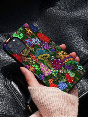 Cosmic Threads Trippy Mushrooms Psychedelic Art Phone Case for iPhones