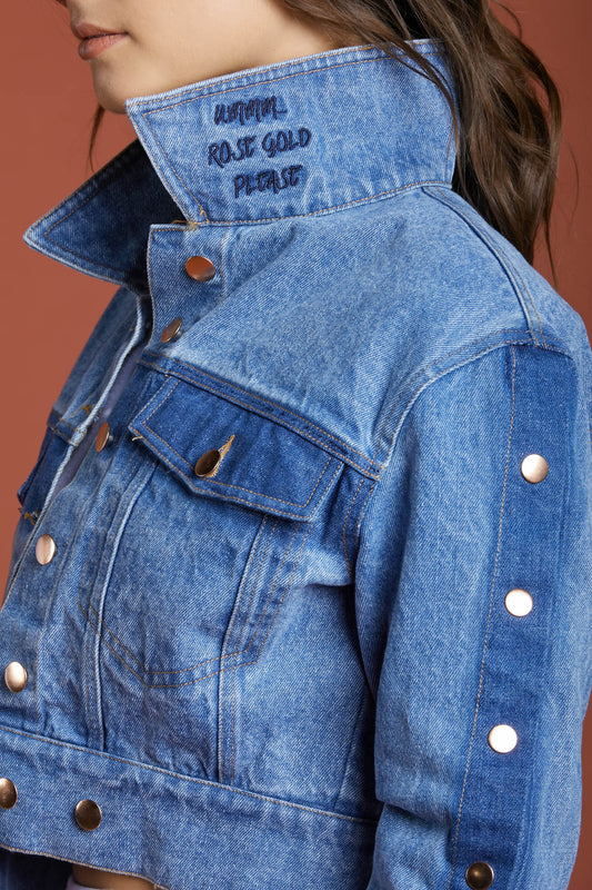 Rose Gold Please Denim Jacket