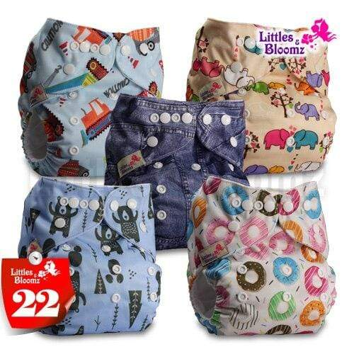 pack of 5 cloth diapers with inserts