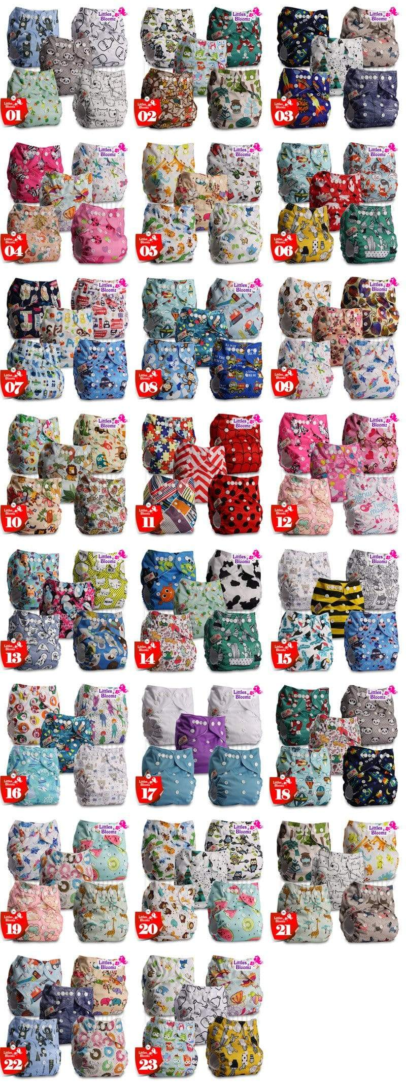 pocket diapers in multiple colors