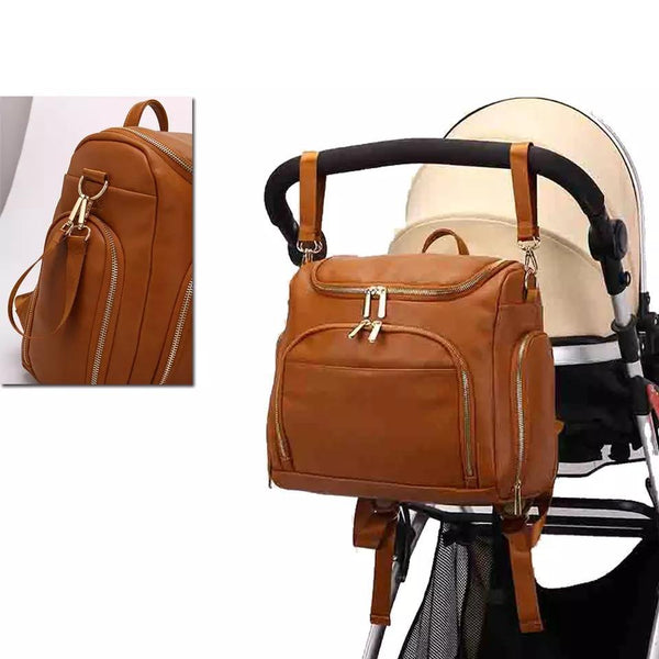 stylish leather backpack diaper bag