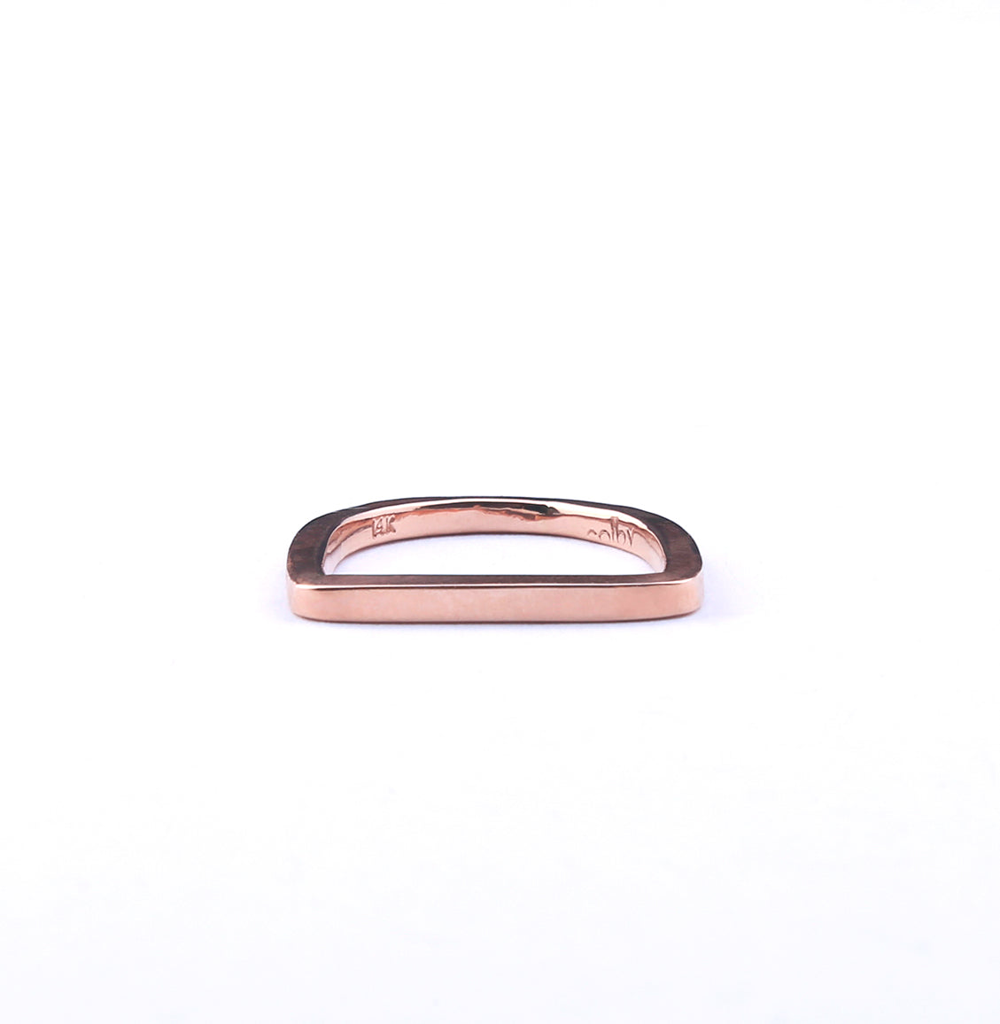 14k Rose gold bar ring.