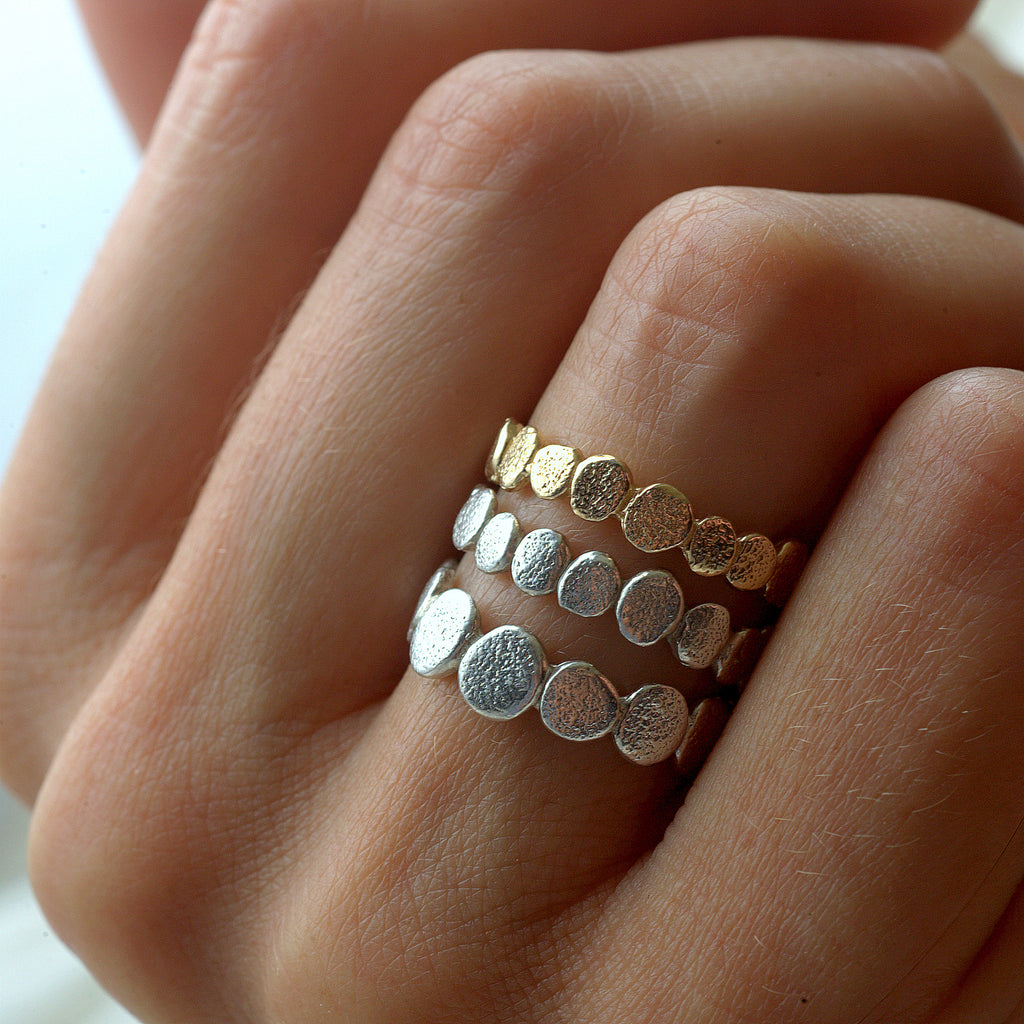 14k Gold and Sterling Silver Pebble Stacking Ring Set