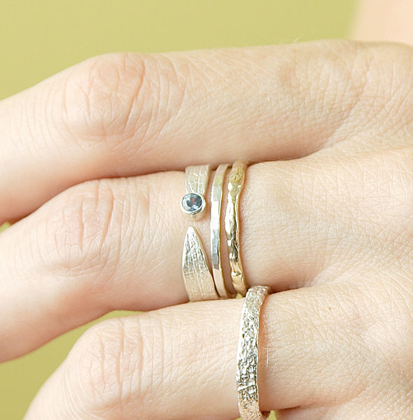 Sapphire Leaf, Thick Band and Raw Ring Set