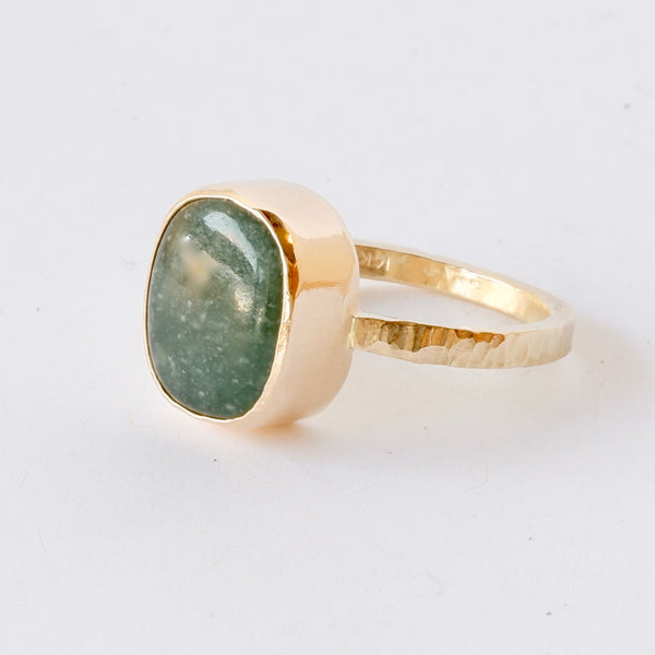14k Gold Guatemalan Jade Ring