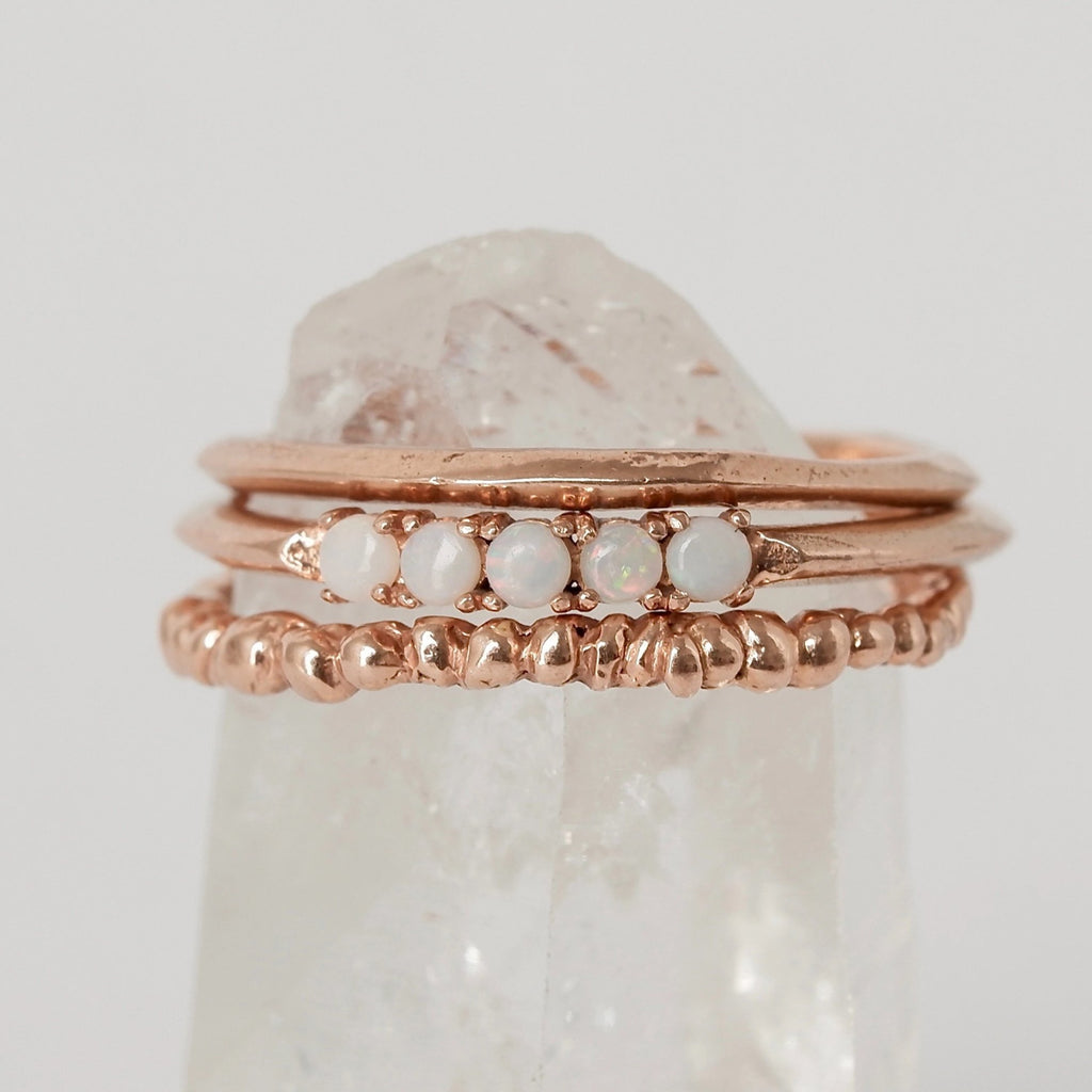 Rose Gold Opal Droplet Trio