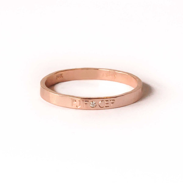 Engraved Initial Band with Diamond