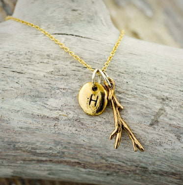 Twig and Pebble Charm Necklace