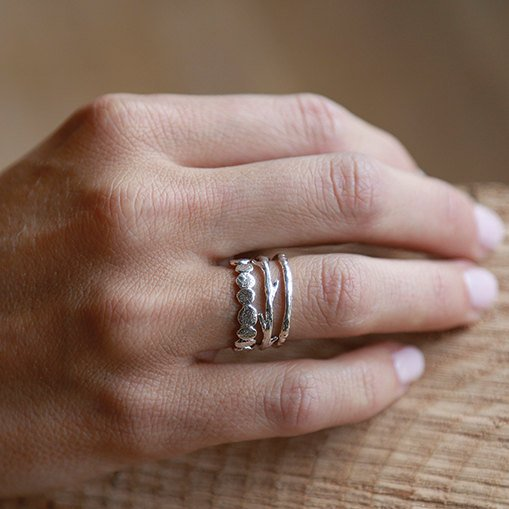Silver Pebble Raw Twig Ring Set|  Stacking Rings Set| Sterling Silver Rings