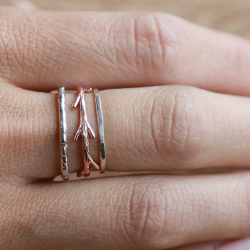 14k Rose Gold Twig and Silver Bands Ring Set|  Stacking Rings Set