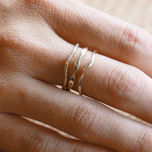 14k Gold Leader Set | 3 Ring Set | Gold Ring Set |  Nature Inspired Rings