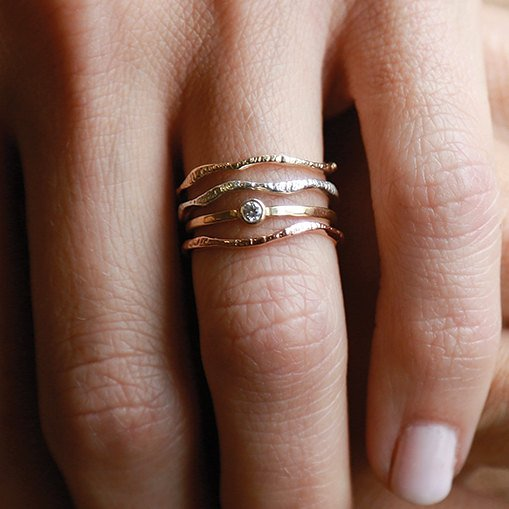 Shining Warrior Set | 3 Ring Set | Gold Ring Set |  Nature Inspired Rings