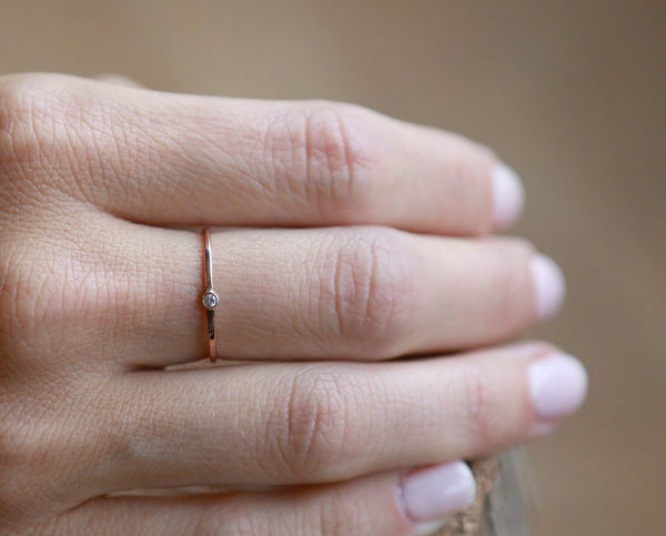 14k Tiny Diamond Ring | 14k Rose Gold, 14k Yellow Gold, or 14k White Gold | Stacking Ring
