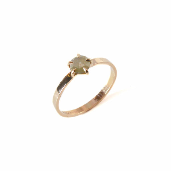 14k Raw Diamond Ring | 14k Gold 5mm Raw Diamond Ring