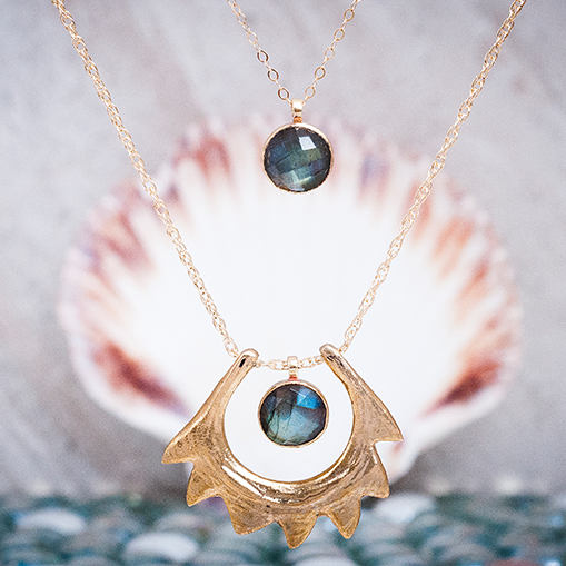 Spire Shell Necklace | Bronze and Labradorite Necklace | Statement Necklace