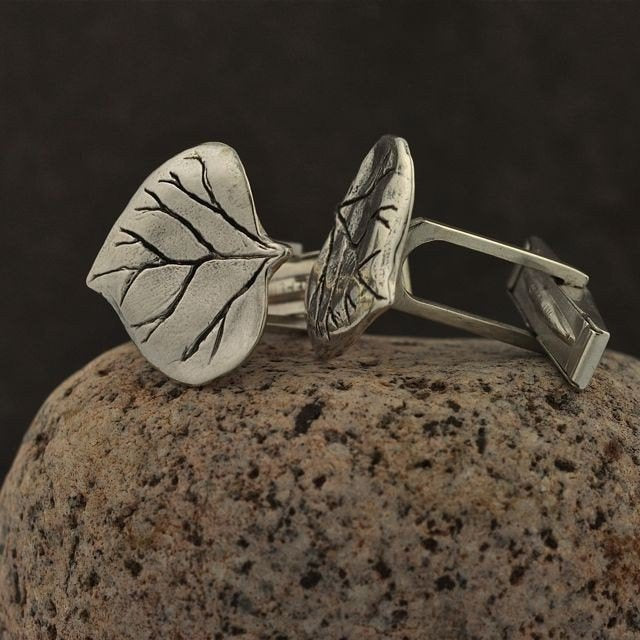 Silver Aspen Leaf Cuff Links