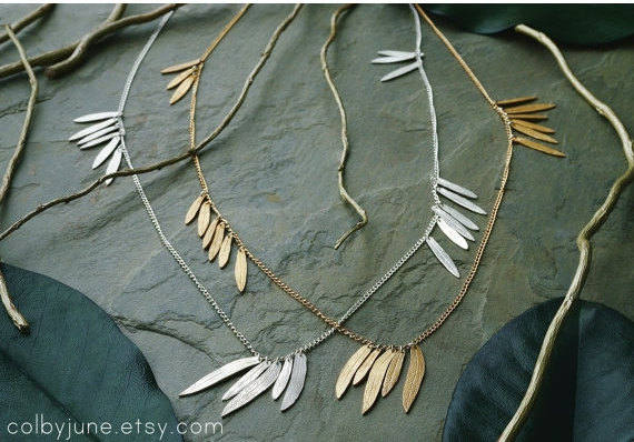 Multi-Leaf Necklace | Sterling Silver or Gold
