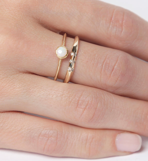 14k Opal and Shimmering Diamond Ring Set  | 14k Gold Ring Set |  Diamonds
