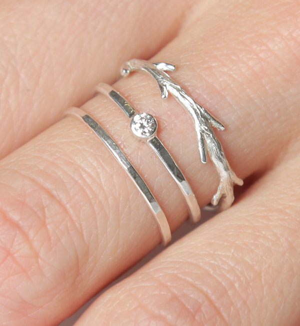 Silver Diamond Twig Ring Set  | Conflict Free Diamond |  Nature Inspired Rings