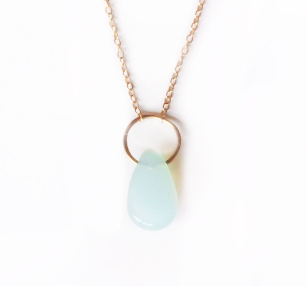 14k Peruvian Blue Opal Drop Necklace | 14k Gold Necklace