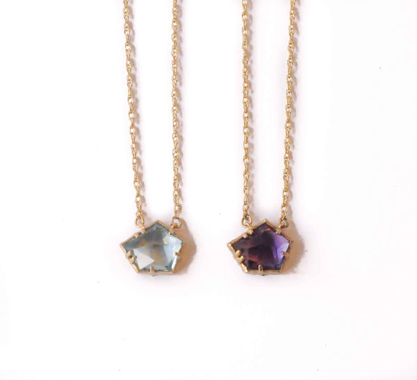 Geode Necklace | Amethyst, Citrine, or Blue Topaz Necklace | 14k Gold or Sterling Silver Necklace
