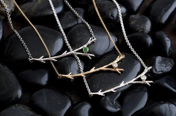 14k Gold Diamond Branch Necklace | Gold Necklace