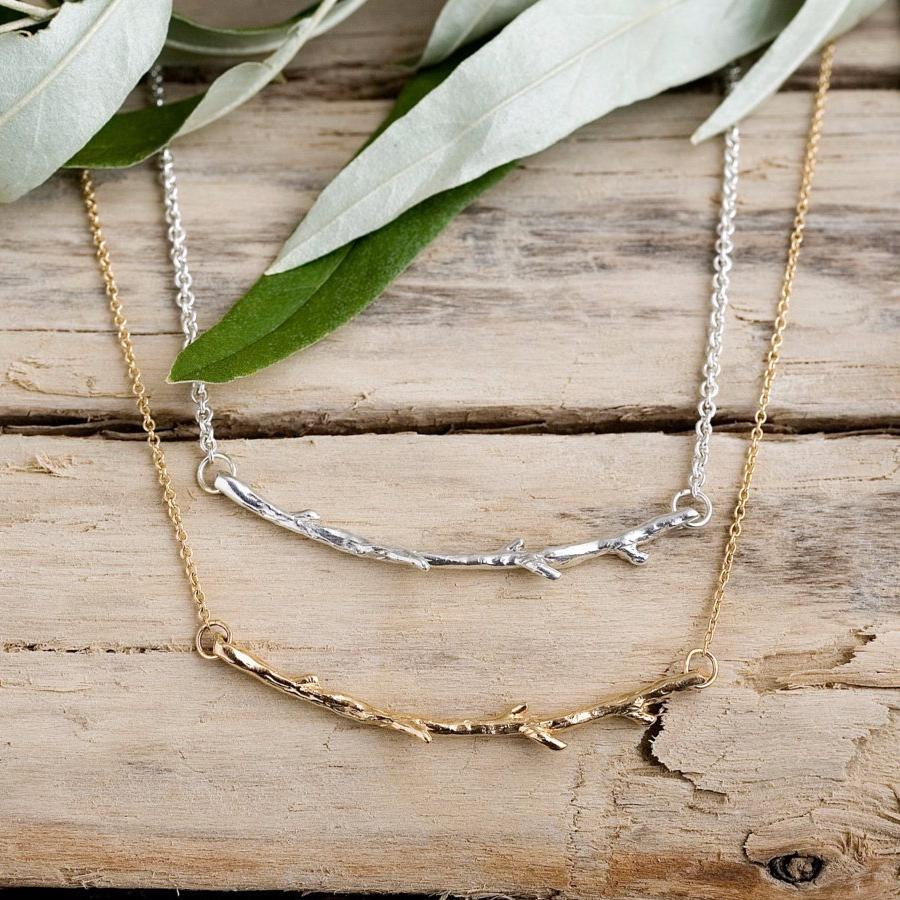 Horizontal Branch Necklace |14k Gold,  Sterling Silver or Bronze and Gold-fill Necklace