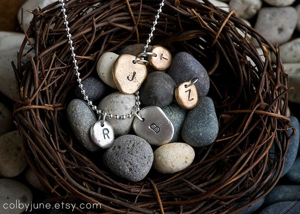 Silver Pebbles Charm Necklace