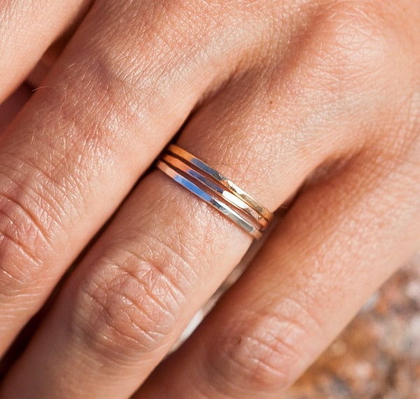 The Trio |Thin Band Set | Stacking Rings | Handcrafted Rings