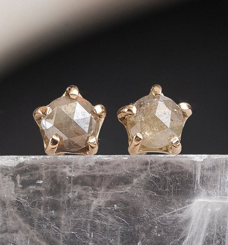 5mm Diamond Stone Warrior Studs | 14k Gold and Diamond Earrings