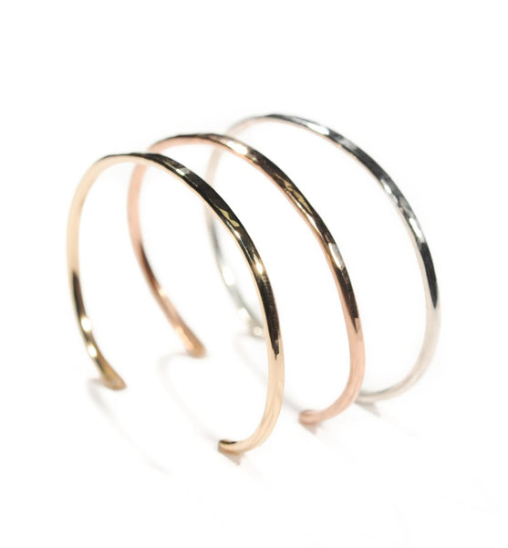 Hammered Cuff | Nature Inspired | Rose Gold Fill, Yellow Gold Fill or Sterling Silver