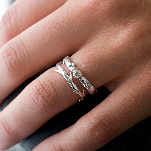 14k White Gold Diamond Branch and Twig Ring Set