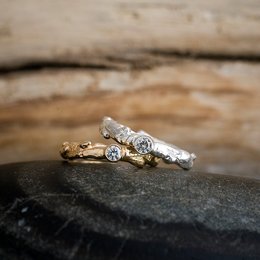 Moissanite Oak Branch Ring